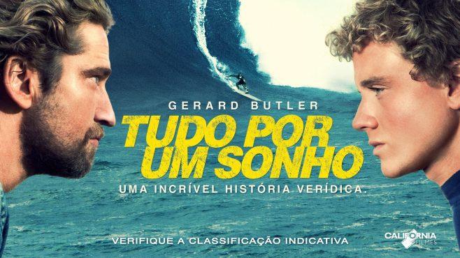 """Dia internacional do surf: Cartaz do filme """"tudo por um sonho"""", com os dois atores principais de perfil e o mar com a onda ao fundo."""