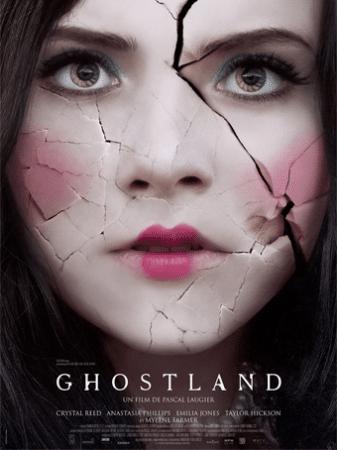 """Poster do filme """"a casa do medo"""". Mulher com rosto de porcelana todo trincado."""