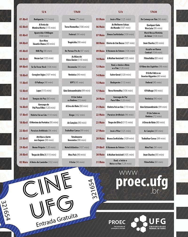 CineUFG - Mostra de cinema brasileiro contemporâneo do primeiro semestre de 2019