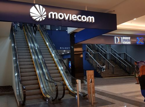 Fachada do cinema Moviecom Buriti Shopping